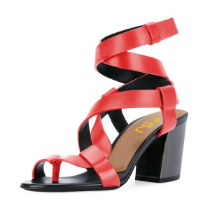 Red Strappy Sandals Toe-knob Block Heels