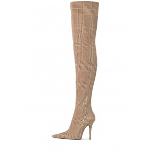 Plaid Knit Long Boots Stiletto Heel Thigh high Boots