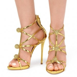 Gold Bling Evening Shoes Stiletto Heels Wedding Sandals