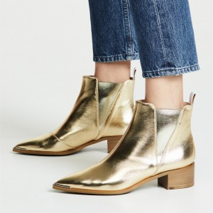 Gold Chelsea Boots Pointy Toe Slip-on Chunky Heel Ankle Boots