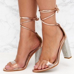 Gold Clear Heels Open Toe Chunky Heels Strappy Sandals