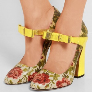 Gold Floral Heels Chunky Heel Bow Pumps