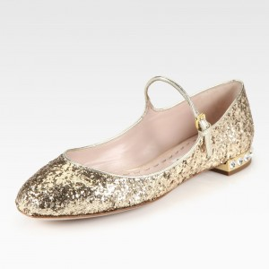Gold Glitter Mary Jane Shoes Chunky Heels Rhinestone School Shoes