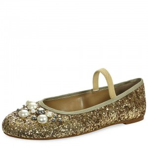 Gold Glitter Mary Jane Shoes Round Toe Pearl Ballet Flats