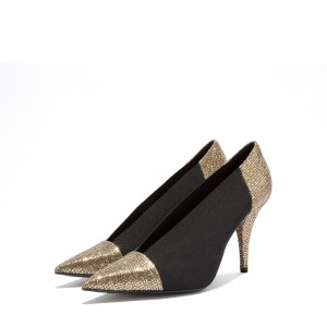 Gold Glitter Shoes and Black Elastic Cone Heel Pumps