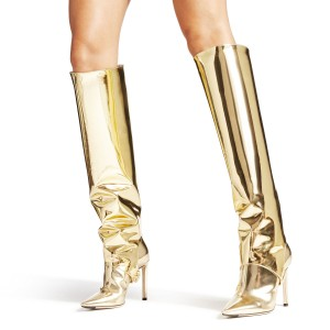Gold Metallic Two-Piece Stiletto Boots Sexy Pointy Toe Knee-high Boots