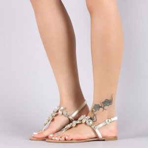 Gold Jeweled Sandals Trending Summer Flat Thong Sandals
