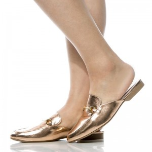 Gold Metallic Loafer Mules Round Toe Flat Loafers for Women