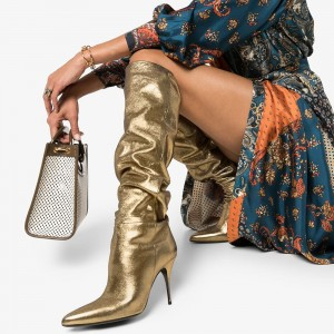 Gold Slouch Boots Pointy Toe Stiletto Heel Knee High Boots