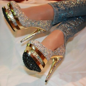 Luxury Prom Shoes Platform Pumps with Rhinestones