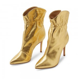 Gold Stiletto Boots Ankle Boots