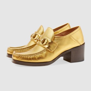 Gold Vintage Chunky Heel Loafers for Women