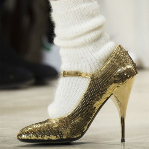 Golden Sequined Mary Jane Shoes Pumps