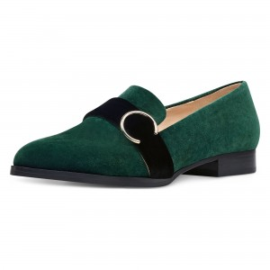 Green Almond Toe Buckle Loafers for Women