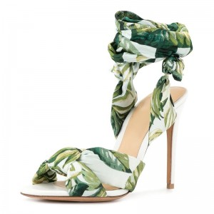 Green Floral Satin Ankle Wrapped Stiletto Heel Sandals