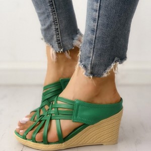 Green Wedge Sandals Open Toe Woven Fashion Mules Sandals US Size 3-15
