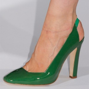 Green Patent Leather Slingback Heels Square Toe Chunky Heel Pumps