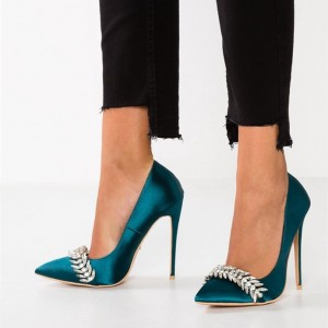 Teal Satin Rhinestones Prom Shoes Stiletto Heel Pumps