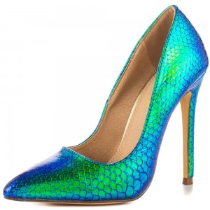 Ariel Mermaid Green Stiletto Heels Pointy Toe Pumps