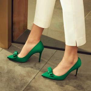Green Satin Bow Heels Pointy Toe Stiletto Heel Pumps