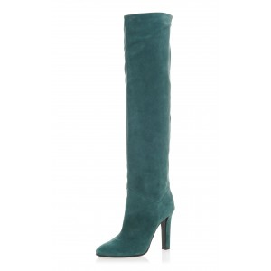 Teal Tall Boots Chunky Heel Suede Knee Boots
