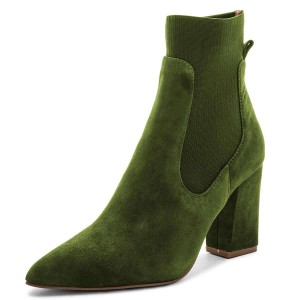 Green Suede Chelsea Boots Chunky Heel Ankle Boots