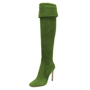Green Suede Stiletto Boots Over the Knee Boots