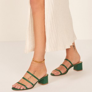 Green Triple Strap Block Heel Mule Sandals