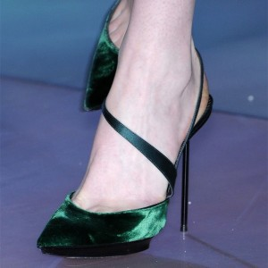 Green Velvet Evening Shoes Stiletto Heel Slingback Pumps