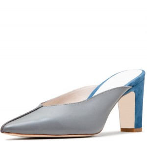 Grey and Blue Block Heels Two Tone Pointy Toe Mules