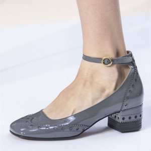 Grey Cute Ankle Strap Heels Patent Leather Chunky Heels Vintage Shoes