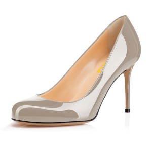 On Sale Grey Office Heels Round Toe Patent Leather Stiletto Heel Pumps