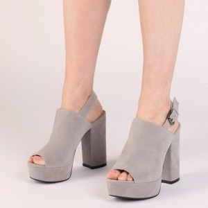 Grey Peep Toe Platform Slingback Shoes Chunky Heel Pumps