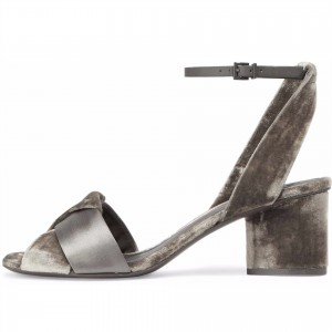 Taupe Velvet and Satin Block Heels Slingback Sandals