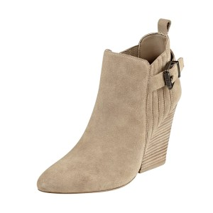 Taupe Boots Closed Toe Wooden Chunky Heel Office Short Boots