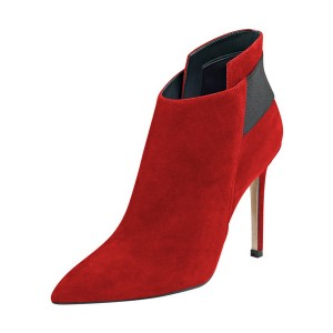 FSJ Red Suede Boots Pointy Toe Stiletto Heel Fashion Ankle Booties