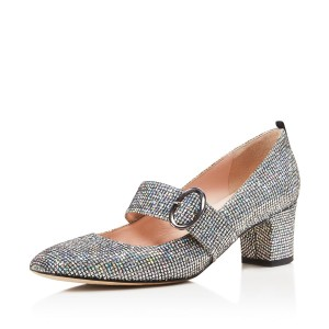 Glitter Mary Jane heels Chunky Heel Pumps