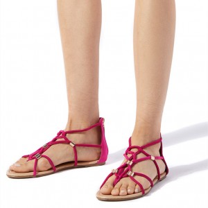 Hot Pink Open Toe Summer Sandals Comfortable Flats