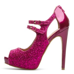 Magenta Glitter Shoes Peep Toe Platform High Heel Pumps US Size 3 -15