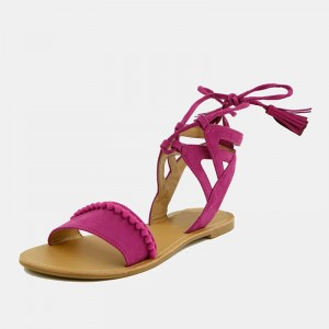 Hot Pink Pom Pom Gladiator Sandals Lace up Sandals with Tassels