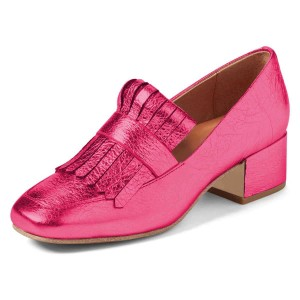 Hot Pink Square Toe Chunky Heels Fringe Loafers for Women US Size 3-15
