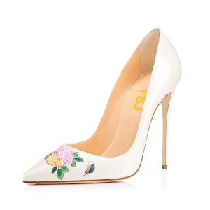 Women's White Pointy Toe Butterfly Floral Office Heels Pumps
