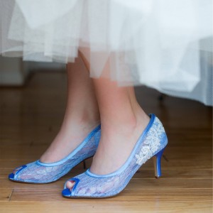 Blue Bridal Shoes Lace Heels Peep Toe Kitten Heel Pumps for Wedding