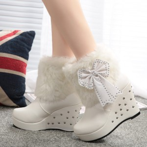 White Fur Boots Platform Bow Wedges Winter Boots with Silver Studs