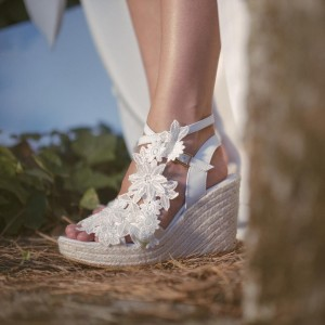 Ivory Lace Floral Wedding Wedges Peep Toe Bridal Platform Sandals