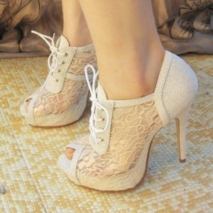 White Lace Peep Toe Summer Boots Stiletto Heels Lace up Wedding Shoes