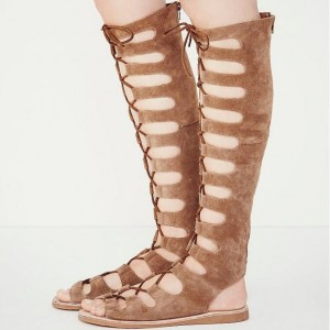 Khaki Gladiator Sandals Suede Comfortable Lace up Flats