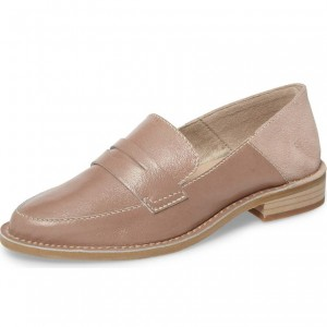 Blush Round Toe Slip-on Flat Penny Loafers for Women