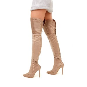 Khaki Studed Thigh High Stiletto Heel Long Boots with Zipper