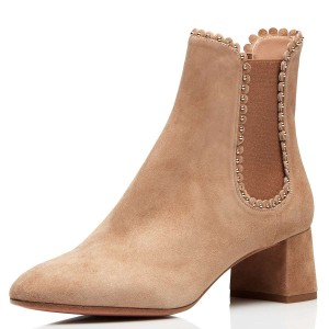 Khaki Suede Studs Chelsea Boots Chunky Heel Ankle Boots